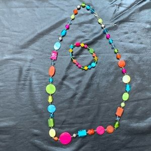 Multi colored necklace and bracelets